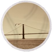 Golden Gate Bridge-sepia Round Beach Towel