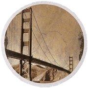Golden Gate Bridge Sepia Round Beach Towel