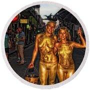 Golden Girls Of Bourbon Street  Round Beach Towel