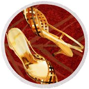 Golden Lattice Slingbacks On Royal Red Carpet Round Beach Towel