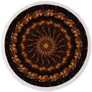 Golden Mandala 1 Round Beach Towel