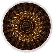 Golden Mandala 3 Round Beach Towel