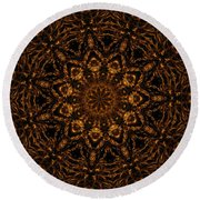 Golden Mandala 4 Round Beach Towel