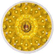 Golden Mandala With Pearls Round Beach Towel