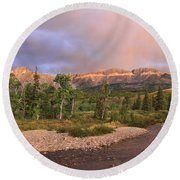 Golden Montana Mountain Round Beach Towel