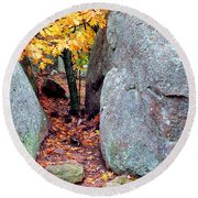 Golden Oak Through Boulders At Elephant Rocks State Park Round Beach Towel