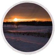 Golden Orange Winter Sunset Over The Golf Round Beach Towel