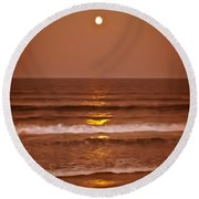 Golden Pathway To The Shore Round Beach Towel