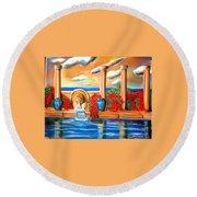 Golden Pillers Reflection Pond Round Beach Towel