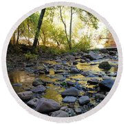 Golden Reflection In The Canyon Of  Light Round Beach Towel