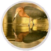 Golden Reflection Round Beach Towel