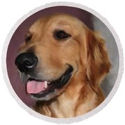 Golden Retriever Round Beach Towel