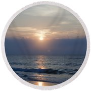 Golden Rose Reflection Squared Round Beach Towel