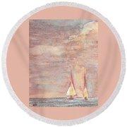 Golden Sails Round Beach Towel