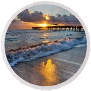 Golden Shadows Round Beach Towel