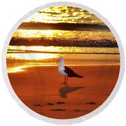 Golden Sunrise Seagull Round Beach Towel