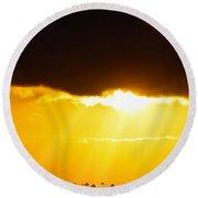Golden Sunset On Farmland Round Beach Towel