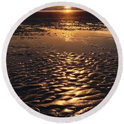 Golden Sunset On The Sand Beach Round Beach Towel by Setsiri Silapasuwanchai