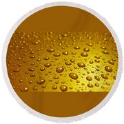 Golden Water Drops. Business Card. Invitation Etc. Round Beach Towel
