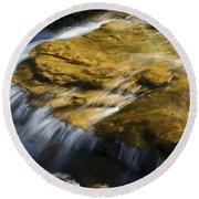 Golden Waterfall Glacier National Park Round Beach Towel
