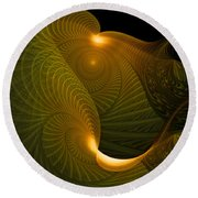 Golden Waves Round Beach Towel
