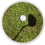Golf Ball And Shadow Round Beach Towel