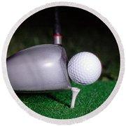 Golf Club Hitting Ball Round Beach Towel