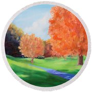 Golf Course In The Fall 1 Round Beach Towel