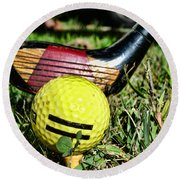 Golf - Tee Time With A 3 Iron Round Beach Towel