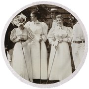 Golfing Party, C1895 Round Beach Towel