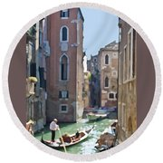 Gondola Painting Round Beach Towel