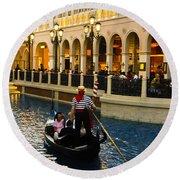 Gondola Ride Inside Venetian Hotel Round Beach Towel