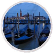 Gondolas At Dusk In Venice Round Beach Towel