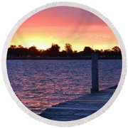 Good Morning From Marysville Michigan Usa Round Beach Towel