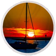 Good Night Round Beach Towel