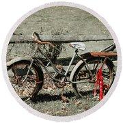 Good Ole Times Bike And Hand Pump Round Beach Towel