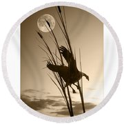 Goose At Dusk - Sepia Round Beach Towel