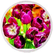 Gorgeous Tulips Round Beach Towel