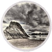Goscar Rock Tenby Cream Round Beach Towel