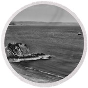 Goscar Rock Tenby Mono Round Beach Towel