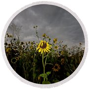 Goth Sunflower Round Beach Towel