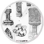 Gothic Ornament Round Beach Towel