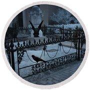 Gothic Surreal Night Gargoyle And Ravens - Moonlit Cemetery With Gargoyles Ravens Round Beach Towel