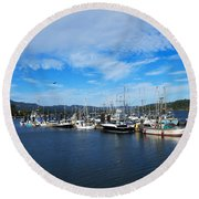 Government Wharf In Sooke Harbour Round Beach Towel