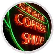 Grace Coffee Shop Neon Round Beach Towel