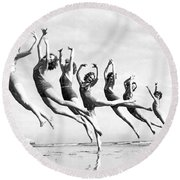 Graceful Line Of Beach Dancers Round Beach Towel
