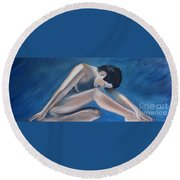 Gracefully Blue Round Beach Towel