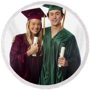 Graduation Couple Iv Round Beach Towel