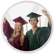 Graduation Couple V Round Beach Towel
