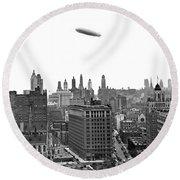 Graf Zeppelin Over Chicago Round Beach Towel